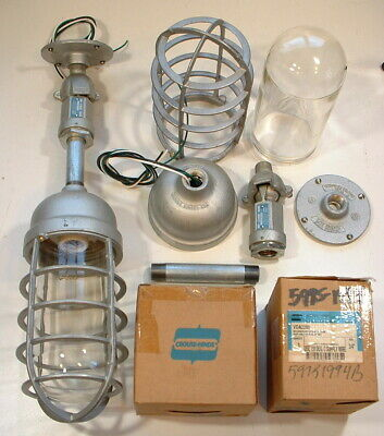 PAIR 60s Crouse-Hinds NOS 200 watt Explosion Proof Vtg Industrial Cage Light