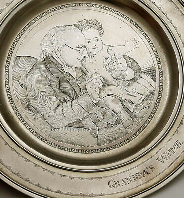 Gorham Engraved Sterling Child's Plate GRANDPA'S WATCH