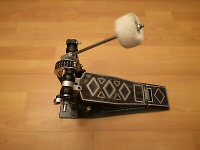 Vintage Bass Drum Pedal with Steel Base Plate Twin Spring & Twin Chain Drive 80s
