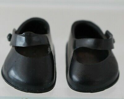 1950 Vogue Ginny Doll Black Mary Jane Shoes marked on heels straps good Original