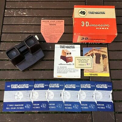 Original 1950s Sawyers Viewmaster Model E Viewer, 6 Reels, Box & Brochures