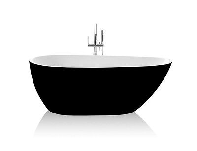 Bathroom Acrylic Free Standing Black Bath Tub 1690 x 870 x 590 - FREESTANDING