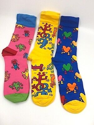 Brand New Limited Edition Keith Haring Happy Socks Set Of 3