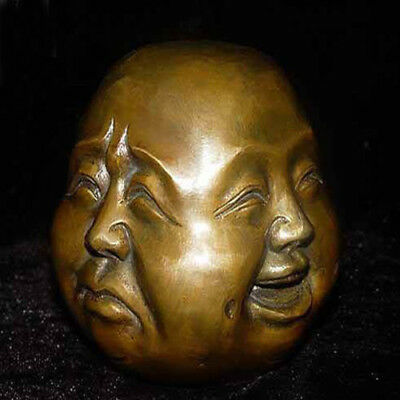 6CM Archaic Old statue faces de Buddha du Bronze 4 face