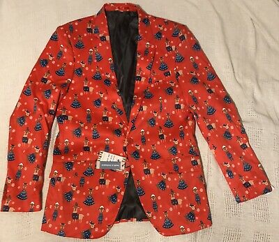 NWT Mens SUSLO COUTURE Christmas Blazer Jacket Size M 40 Slim Fit Ugly Sweater