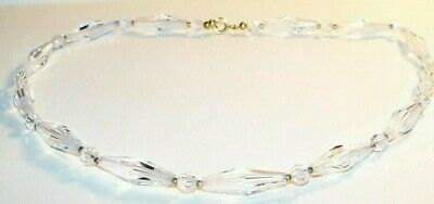 """Art Deco Clear Long Bicone faceted beautiful necklace 18"""""""