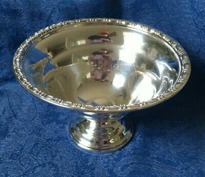 Sterling Silver Pedestal Footed Bowl Bon-Bon Dish with Gradroon Type Edge