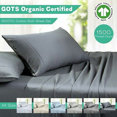 1500TC Organic Cotton Rich Sheet Sets Hotel Quality Double Queen King Single