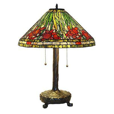 Elegant Tiffany Daffodil Bronze Table Light Lamp Brings Pull Chain Stained Glass