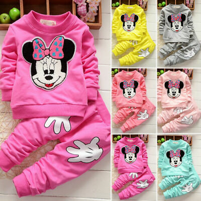 Baby Kids Girls 2pcs Minnie Mouse Coat Hoodie Tops +Pants Tracksuit Outfits Set