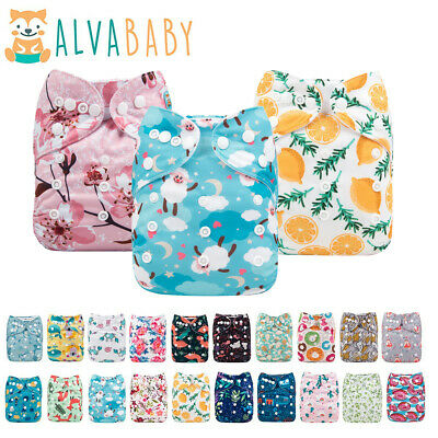 ALVA Baby Cloth Nappies Printing Adjustable Reusable pocket diapers cover 3-15KG