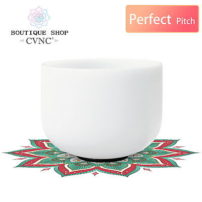 """CVNC 8"""" Perfect Pitch Tuned G Throat Chakra Frosted Quartz Crystal Singing Bowl"""