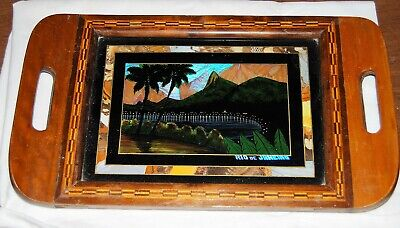 Antique Wood Marquetry Inlaid BUTTERFLY WING Serving Tray RIO 1930s