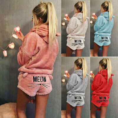 Ladies Girls Hooded Button Up Warm Fluffy Fleece Dressing Gown Wrap Housecoat