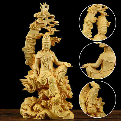 Chinese Boxwood Carving Kwan-yin Guanyin Buddha Statue Sculpture Craft Wood Gift