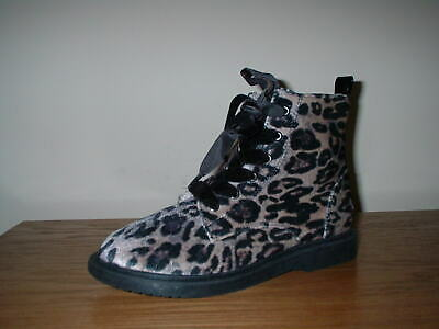 Girls Top Brand Animal Print  Zip Fasten Laces Warm  Lining Ankle Boots  12/31