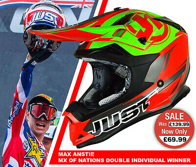 JUST1 J32 ADULT MOTOCROSS OFF ROAD ENDURO MX CRASH HELMET RAVE MATT LIME RED