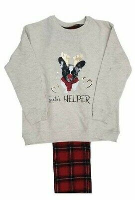 Ex River Island Girls French Bulldog Grey Tartan Christmas Xmas Pyjamas 2 - 12