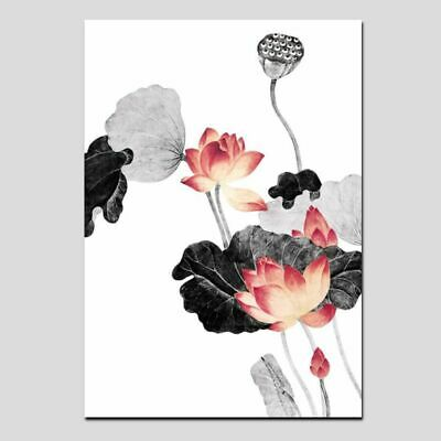 Traditional Chinese Calligraphy Painting Pink Lotus Leaf Canvas Art Wall Picture