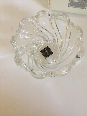 MIKASA Crystal Peppermint Clear Swirl Bowl Candle Holder Scalloped Edge Germany