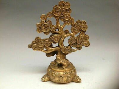 Chinese Brass Copper Feng shui Lucky Wealth Money YuanBao Coin Tree Statue