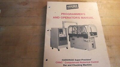 Hardinge CHNC Chucking Machine programers & Operators  Manual