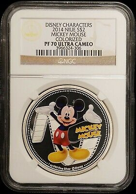 2014 Niue Mickey Mouse Disney Colorized $2 1 oz Proof Silver Coin NGC PF 70 UC
