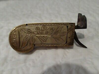 Antique 19th.c Civil War Era Surgical Brass Bleeder Highly Engraved Signed ROLR
