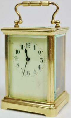 Antique French Carriage Clock 8 Day Classic Brass & Glass Timepiece Mantel Clock