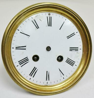 Antique French 8 Day Bell Striking Clock Movement White Porcelain Dial, No Hands