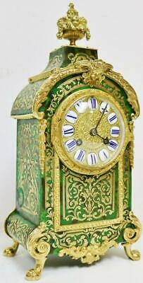 Rare Antique French 8 Day Green Shell & Inlaid Boulle Bronze ormolu Mantel Clock
