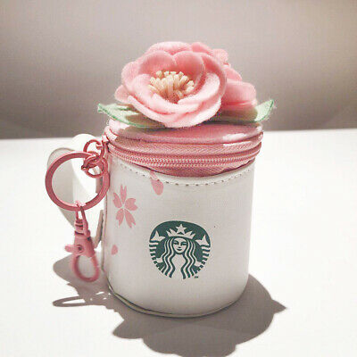 Starbucks Keychain Cup Shaped Bag Purse Cherry Blossom White Pink 2019 Gift New