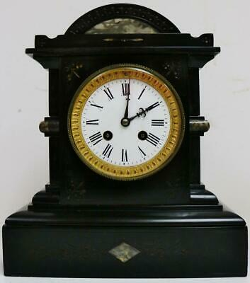 Antique French 8 Day Slate & Marble, Engraved Decoration Striking Mantel Clock