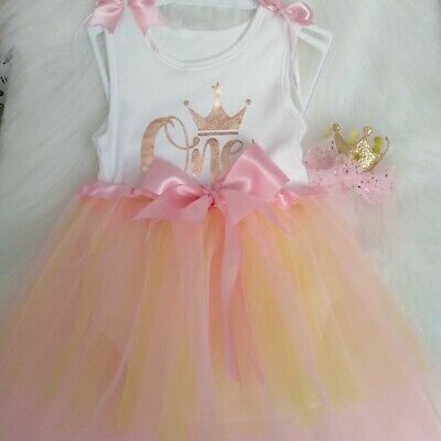 It's my1st Birthday FIRST  cake smash OUTFIT PHOTO SHOOT PINK TUTU ROMPER HAIRBO