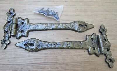 Pair of LEAF cast iron t tee door hinges ornate decorative old style hinges