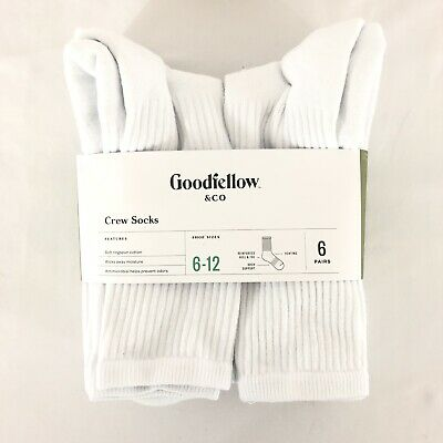 Goodfellow & Co Mens Crew Socks 6 Pairs White Arch Support Moisture Wicking 6-12