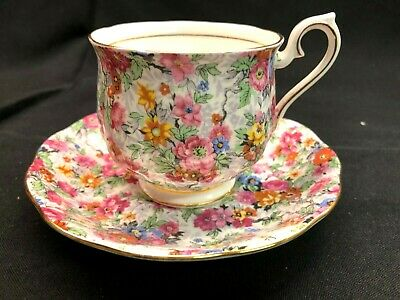 Royal Albert Bone China Floral Pink Roses Chintz Cup & Saucer England Crown
