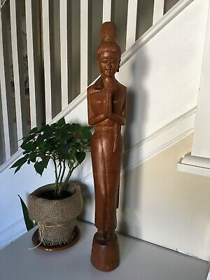 """Vintage Carved Wooden Figurine Asian Buddhist Statue Fashion Home Decor 25"""""""