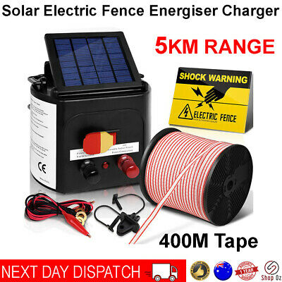 5km Solar Power Electric Fence Charger Kit Fencing Powered Tape Insulator Sign