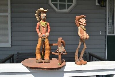 Two Hand Carved Cowboy Caricature Carvings One With Display Base & Extra's & One