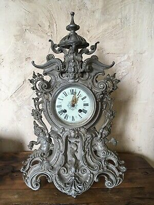 Very rare Antique Lenzkirch 1890's rococo mantel clock w/ great detail