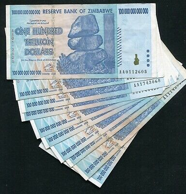 (10) 2008 100 Trillion Dollars Reserve Bank Of Zimbabwe, Aa P-91 Circulated (B)