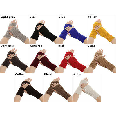 Thick Warm Long Knitted Gloves Candy Color Arm Warmers Fingerless Mittens