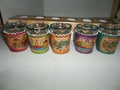 "lot of 5 panama shot glasses with holders 2"" tall"