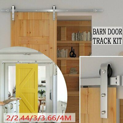 2/2.44/3/3.66/4M Sliding Barn Single Door Hardware Track Kit Stainless Steel xI