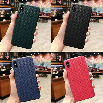For iPhone X XS XR 11 MAX Case Weaving Plaid Soft PU Leather Skin Cover Luxury
