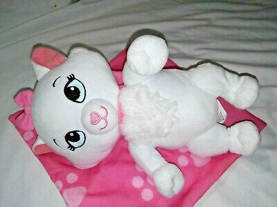 "9"" Disney Babies Marie Aristocats White Plush Cat Toy Pink Blanket Stuffed Parks"