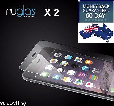 2X NUGLAS Tempered Glass Screen Protector for  iPhone x 8 7 6 6S Plus