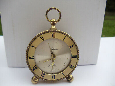 Vintage SWIZA 8 Day 7 Jewels Pocket Watch Mantel Alarm Clock -  spares & repairs