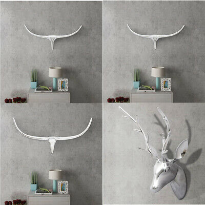 Wall Mounted Aluminium Bull's/Deer's Head Sculpture Silver Home Cabin Decoration
